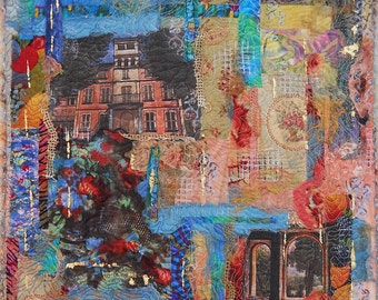 Chateux en Provence...This peice tells the story of a Chateux in Provence. Embellished with gold leaf and other textured fabrics