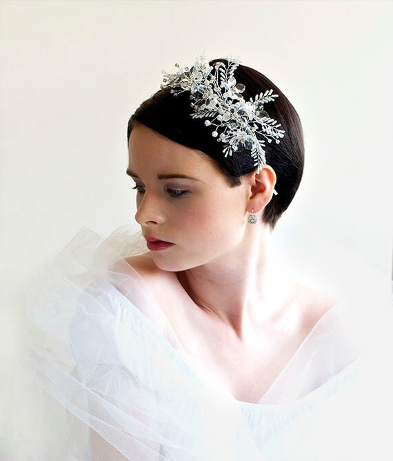 Bridal side Tiara - SNOW PRINCESS - SOLD crystal, diamante and white pearls