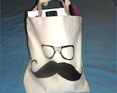 Moustache and Nerd Glasses -  Canvas Tote Bag