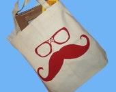 Moustache and Glasses  - Canvas Tote Bag