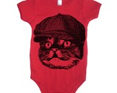 Cat In A Hat Bodysuit - American Apparel Made In The USA - 3-6m, 6-12m, 12-18m, 18-24m, (Color Options)