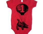 1st Birthday Flying Turtle Baby Bodysuit - American Apparel - 3-6m, 6-12m, 12-18m, 18-24m, (7 Color Options)