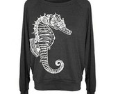 Womens Seahorse wide neck Tri-Blend Raglan Pullover - American Apparel - S M and L (8 Color Options)