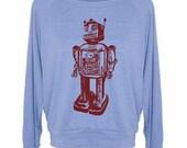 Womens Sweatshirt Vintage ROBOT Tri-Blend Raglan Pullover - American Apparel - S M and L (8 Color Options)
