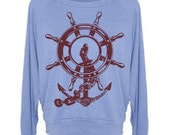 Womens Sweatshirt Anchor Ship Wheel Pullover Raglan - American Apparel Sweater - S M and L (8 Color Options)
