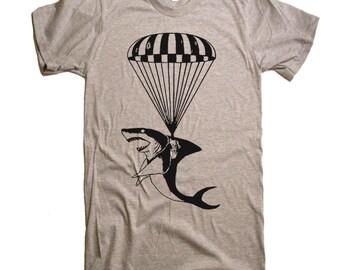 Shark on a Parachute Tshirt Mens T Shirt - American Apparel T-shirt tee - S M L XL 2XL (15 Color Options)
