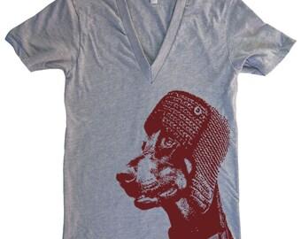 Doberman In a Hat Deep V Neck T Shirt - American Apparel Vneck Tshirt - XS S M L (15 Color Options)