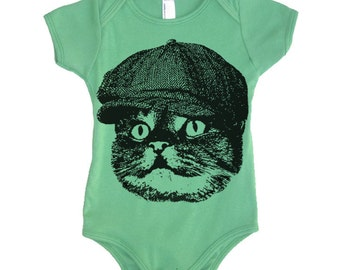 Baby Cat In A Hat Bodysuit - American Apparel Made In The USA - 3-6m, 6-12m, 12-18m, 18-24m, (Color Options)