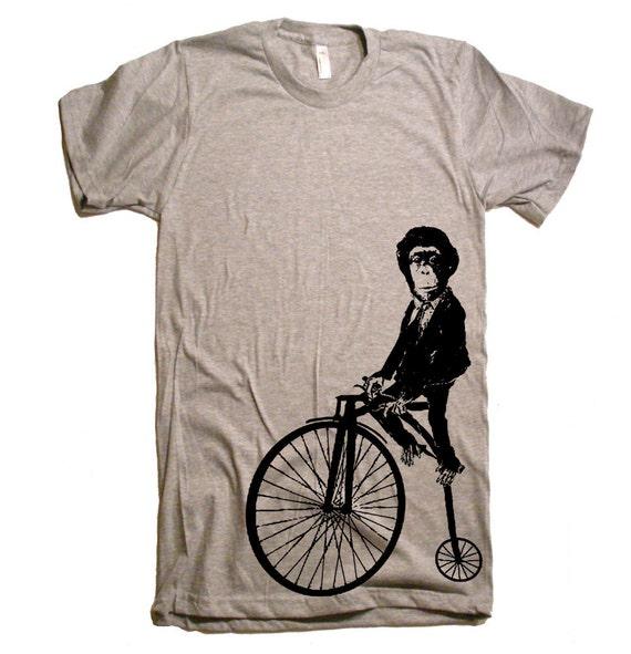 Monkey on a Bike T Shirt - Mens American Apparel Tshirt - S M L Xl and Xxl (15 Color Options)