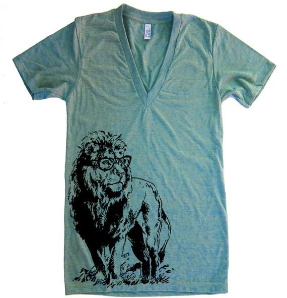 Unisex Lion Professor Deep V Neck T Shirt - American Apparel Vneck Tshirt - XS S M L (15 Color Options)