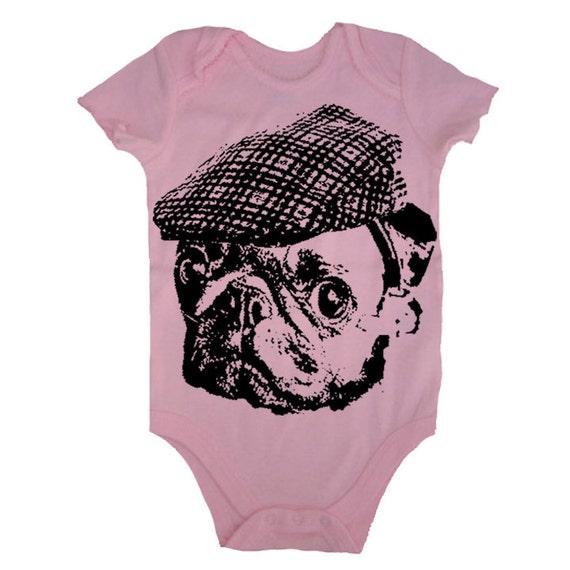 Baby Pug Bodysuit Pug In A Hat Baby T Shirt Pug One Piece Bodysuit Infant T Shirt Newborn Baby 3-6m, 6-12m, 12-18m, 18-24m Pink Baby Girl