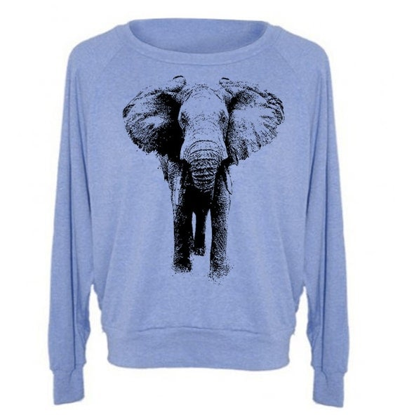 Women's wide neck Sweater ELEPHANT Tri-Blend Pullover Raglan - American Apparel - S M L (8 Color Options)