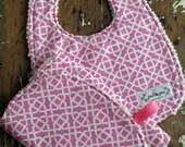 Baby Girl Bib & Burp Cloth Set - Honey Child Geo Pink