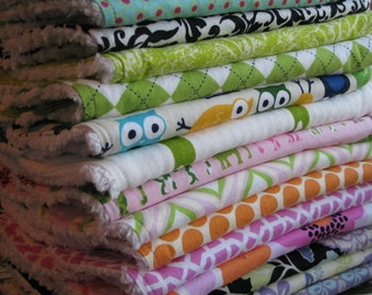 2 Bib & Burp Cloth Sets - You Choose Fabrics - DESIGN YOUR OWN - Mix and Match