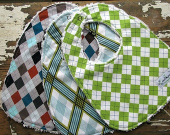 SALE Baby Bibs for Baby Boy - Set of 3 - Preppy Argyle Combo - Plaid - Lime, Aqua, Navy, Brown