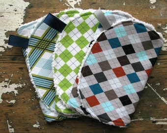 SALE Baby Boy Burp Cloths - Set of 3 - Preppy Argyle Combo - Lime, Aqua, Navy, Brown