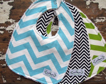 Gender Neutral Baby Bibs - Set of 3 - Chevron Set in Turquoise, Black & Lime Green