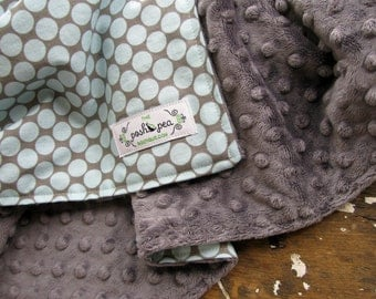 Baby Boy - Minky Baby Blanket - Full Moon in Slate Blue and Grey