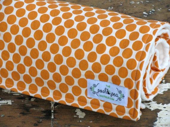 Gender Neutral Minky Baby Blanket - Full Moon Tangerine Orange Dot