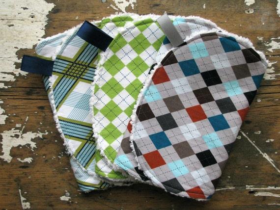 SALE Baby Boy Burp Cloths - Set of 3 - Preppy Argyle Combo - Lime, Aqua, Navy, Brown