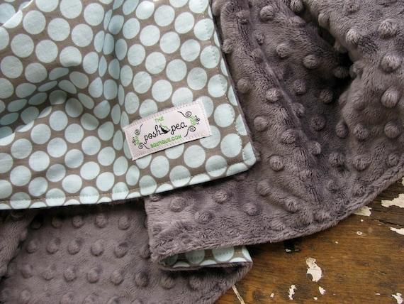 Baby Boy - Minky Baby Blanket - Full Moon in Slate Blue and Grey