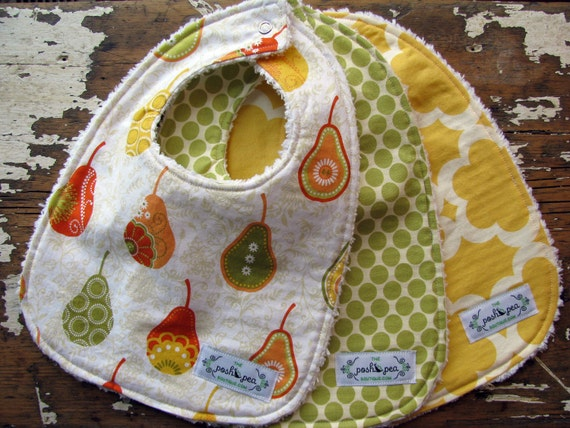 Gender Neutral Baby Bibs - Set of 3 - Citrus Yellow & Lime - Decadence Pears, Full Moon Lime, and Taza Yellow