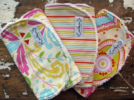 Baby Girl Burp Cloths - Set of 3 - Kumari Garden - Sujata Flourish, Tanaya Stripe & Chandra