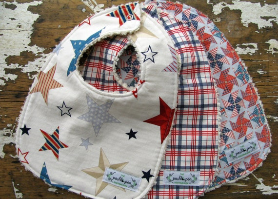 Baby Bibs Boy - Set of 3 - Stars, Plaid and Pinwheels - Preppy Boy in Red & Blue