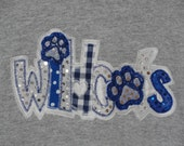 Wildcat double appliqued tshirt with coordinating fabric and dotted sequin fabric.