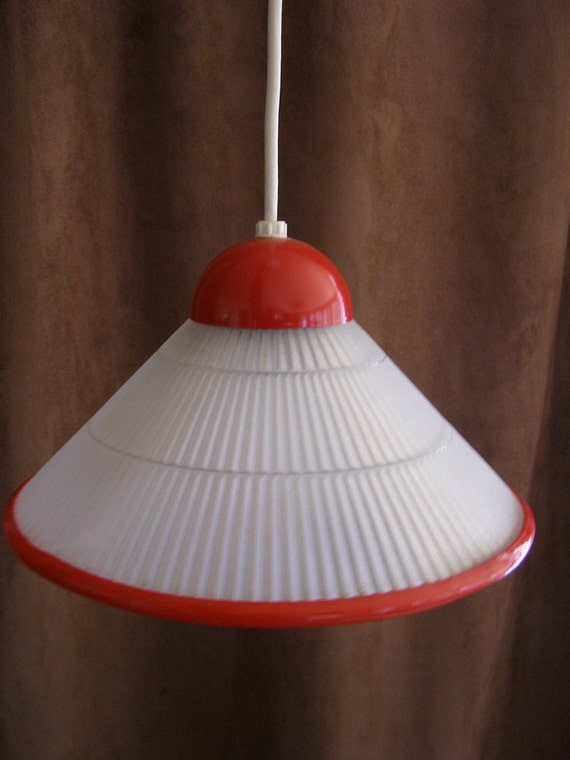RESERVED JANICE 2 x Beautiful Vintage Retro Pendant Ceiling Lamp Glass Shade