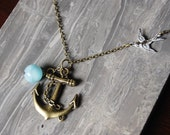 Nautical, Sailor, Ship, Navy, Sea Blue, Swallow Necklace