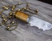 Clear Quartz Bullet Necklace