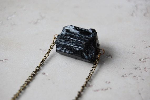 Raw Black Tourmaline Chunk Necklace