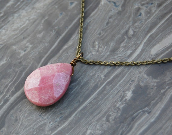 Faceted Rhodonite Tear Drop Necklace