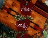 Apple Kitchen Decor Welcome Country Friends Wall Sign