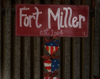 Americana Personalized Family Name Sign Military Army Navy Country Sign