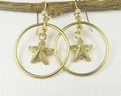 Starfish Earrings, Hoop Earrings, Gold Hoop Earrings, Starfish Charms, Summer Jewelry, Dangle Earrings, Gold Dangle Earrings