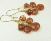 Sunstone Briolette Earrings, Gold Earrings, Gemstone Earrings, Gold Gemstone Earrings, Drop Earrings, Waterfall Earrings, Sunstone Jewelry
