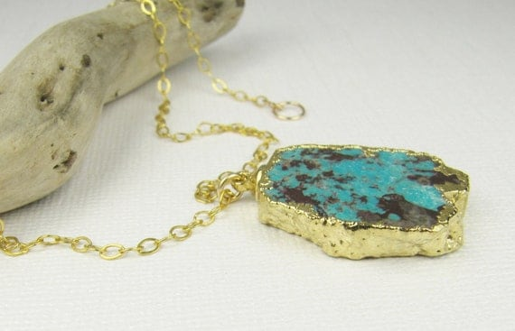 Turquoise Necklace-Turquoise Pendant-Gold Necklace-Gold and Turquoise Necklace-Turquoise Gold Necklace-Pendant Necklace