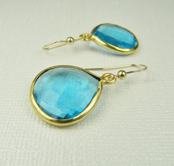 Blue Quartz Earrings-Bezel Set Earrings-Gold Earrings-Faceted Gemstone Earrings-Quartz Briolettes-Drop Earrings-Gemstone Earrings