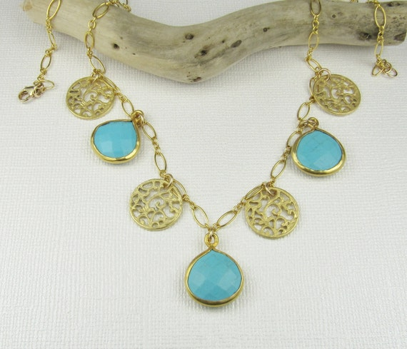 Turquoise Howlite Necklace-Gold Necklace-Pendant Necklace-Gemstone Necklace-Briolette Necklace-Bezel Set Briolettes
