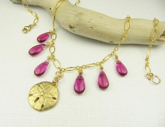 Fuschia Quartz Necklace, Sand Dollar Necklace, Gemstone Necklace, Gold Necklace, Briolette Necklace, Dangle Necklace, Drop Necklace
