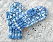 Hand Knit Fair Isle Mittens Blue Checked - ON SALE - MorningLightFarm