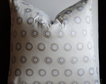 Polka Dot Decorative Pillow Cover-20x20-SILK -Accent Pillow-Throw Pillow-Taupe-Cream