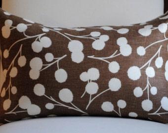 Decorative Pillow Cover -12x18-LINEN- Chocolate Brown-White Blossoms-Accent Pillow-Toss Pillow-