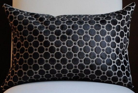 Beautiful Velvet Home Decor Pillow Cover  -14x20-Black-Accent Pillow-Throw Pillow-Decorative Pillow