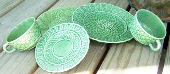 Vintage Green Majolica Dishware