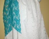 White eyelet regular pillowcase dress with lace