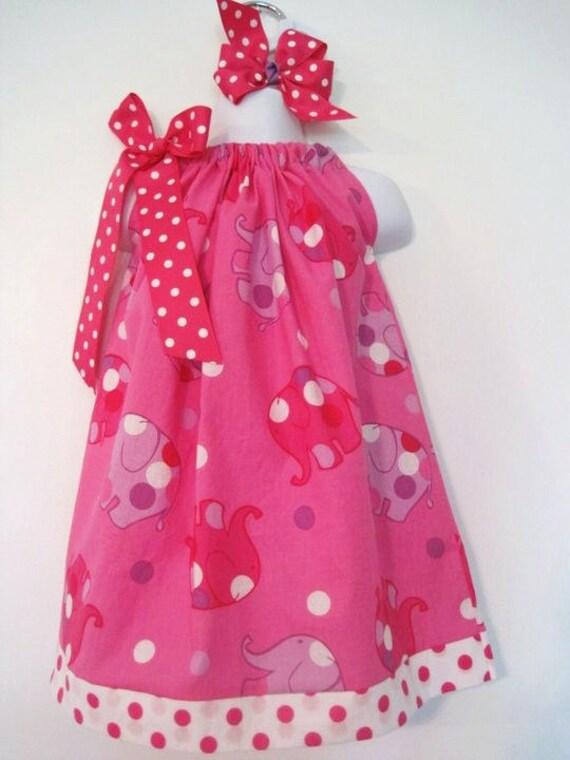 Custom pink polka dot elephant pillowcase dress with bow