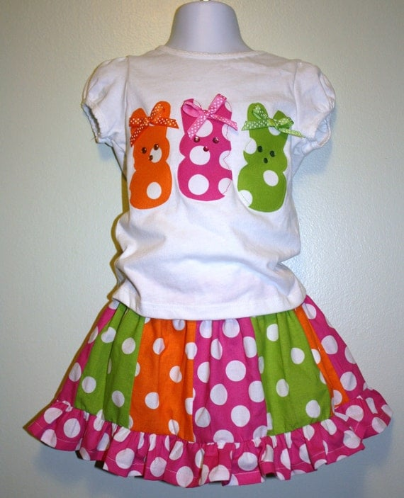 Easter bunny outfit, hand appliqued shirt and ruffle twirl skirt